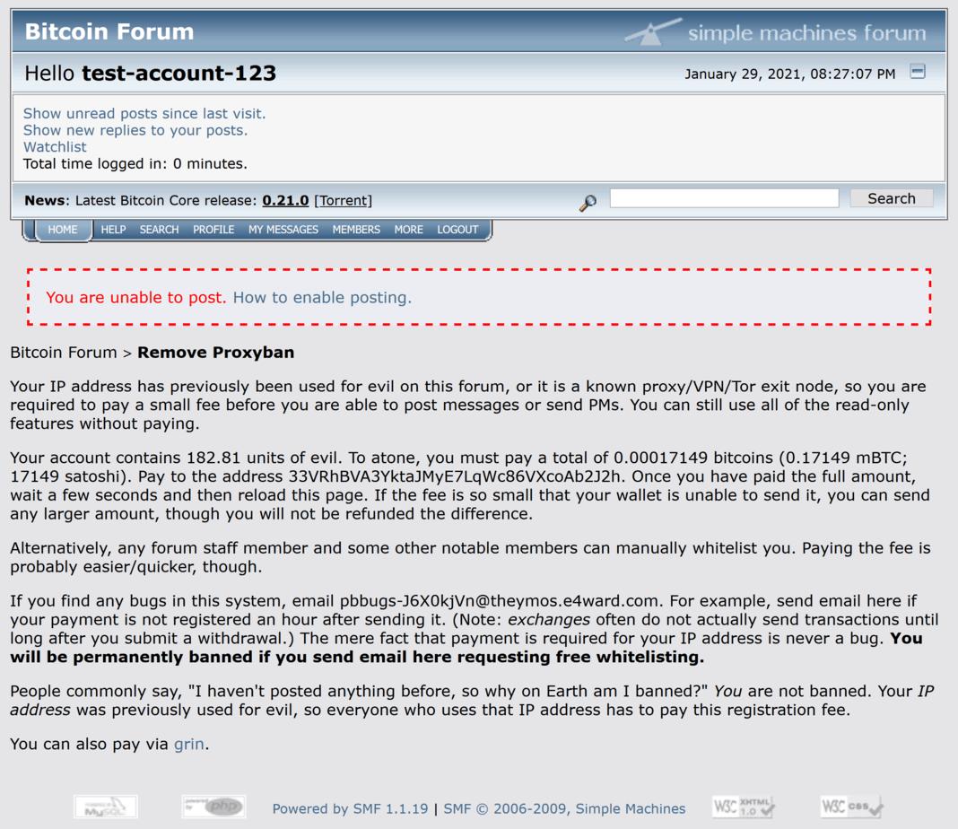 Bitcoin IP ban