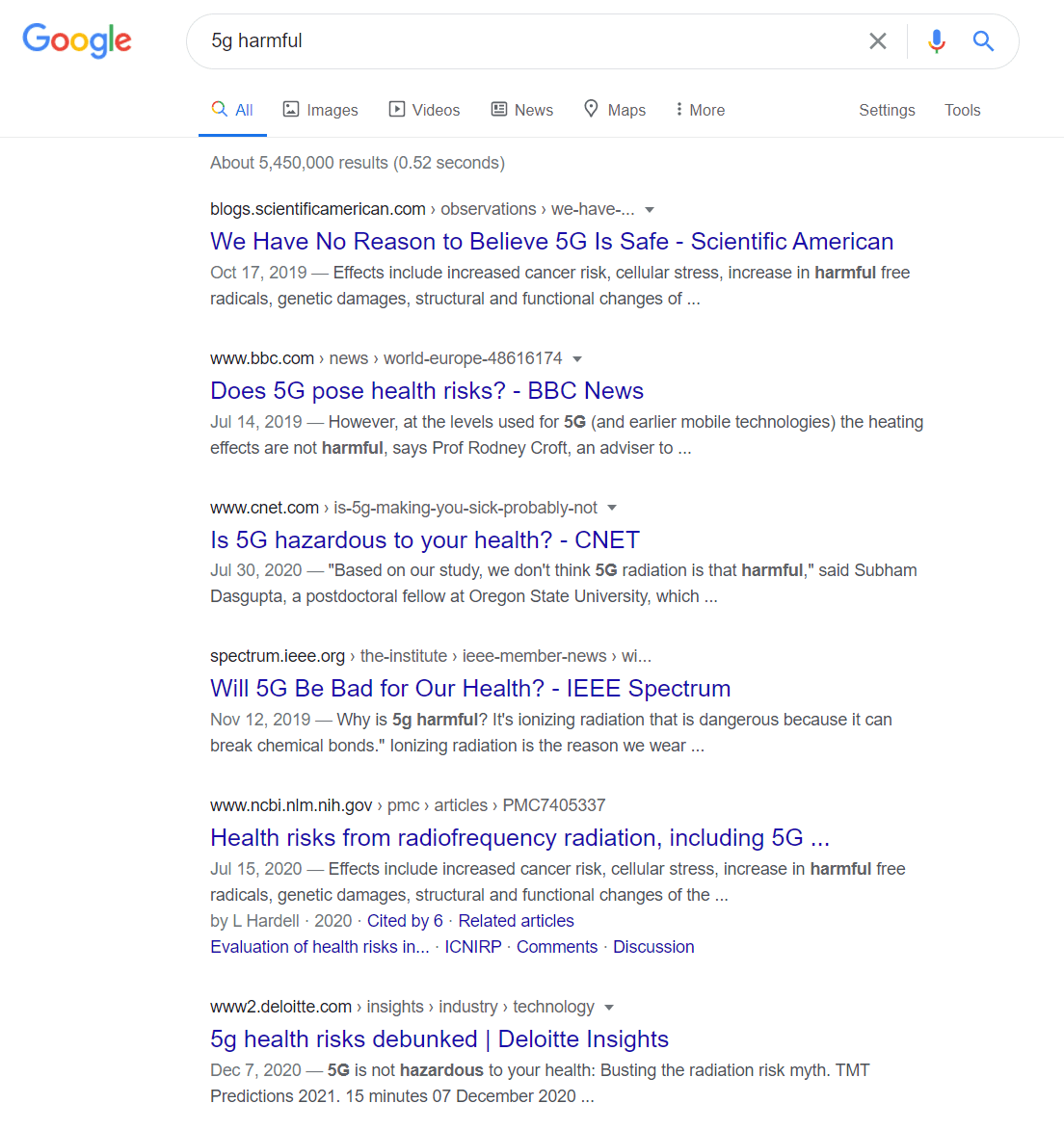 Google 5g harmful
